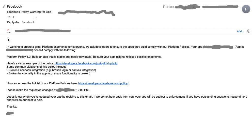 Facebook Policy Warning for App