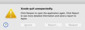 Xcode quit unexpectedly
