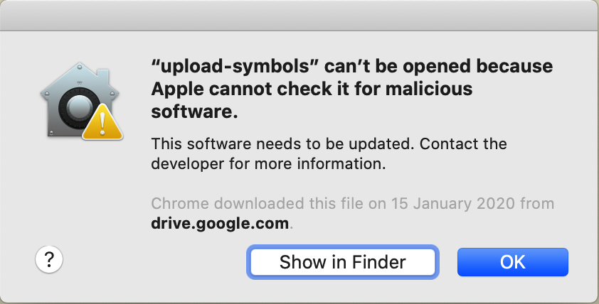 """upload-symbols"" can't be opened because Apple cannot check it for malicious software"